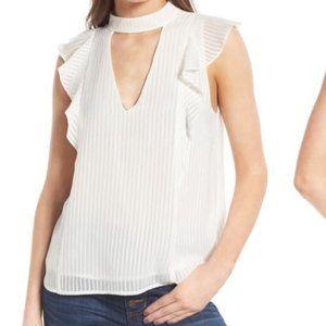 ASTR Nordstrom keyhole white sleeveless blouse